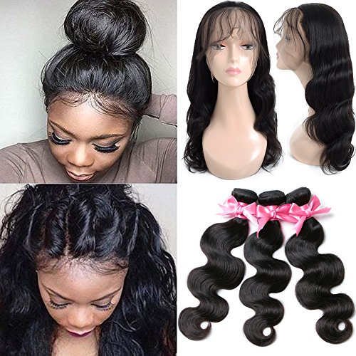 360 Lace Frontal with Bundles Pre Plucked 8A Brazilian Virgin Hair Body Wave 3 Bundles with Closure Bady Hair 100% Unprocessed Human HairExtensions Natural Color(14 16 18+12 360Frontal) by Free Queen