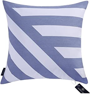 Aitliving Throw Pillow Covers Cushion Shell Case for Bed Sofa Couch Geometric 18x18 inches Canvas Square Blue Stripes Decor Zigzag Cotton Print Bold Twisted Decorative Pillowcase 1 PC 45.5X45.5cm