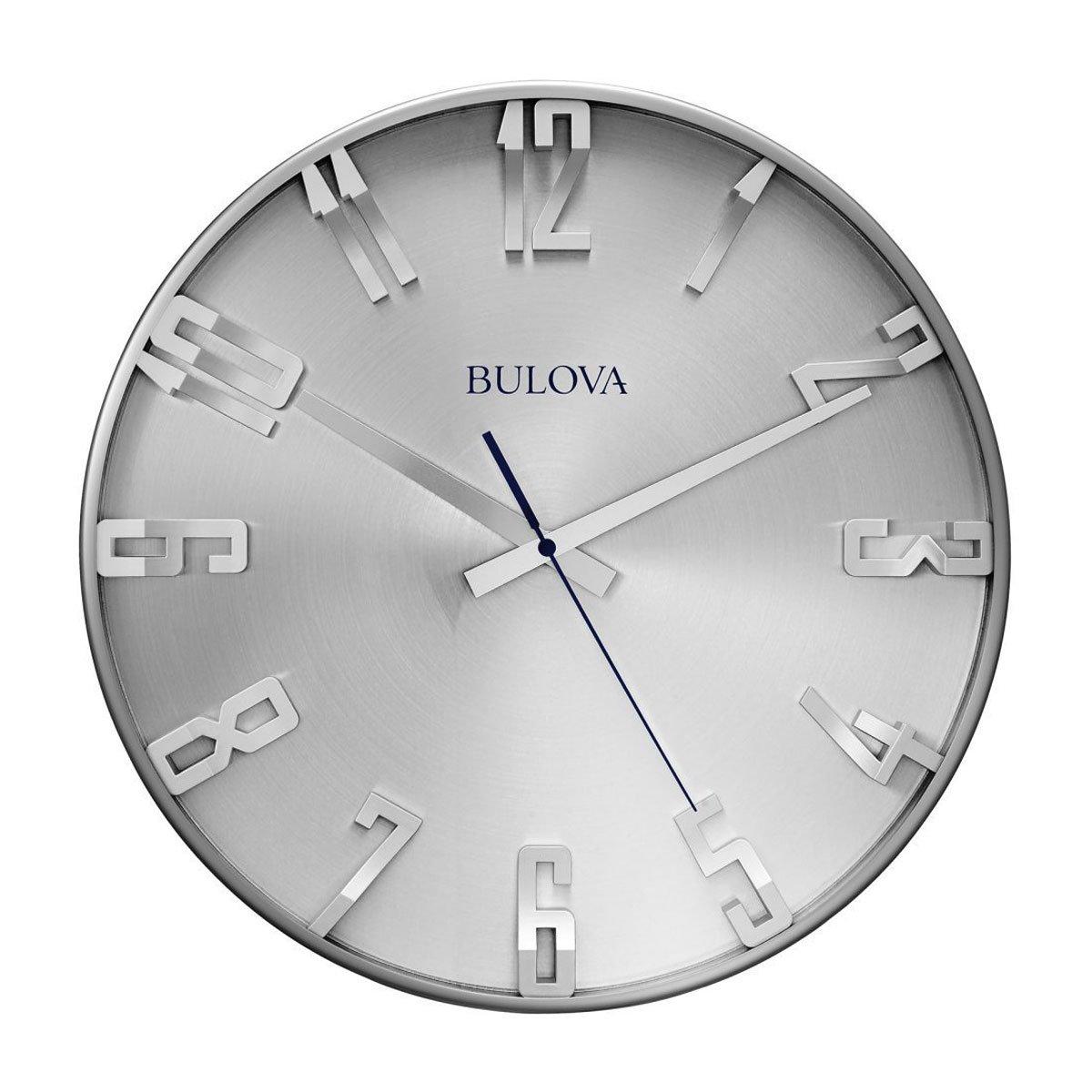 Amazon Bulova Director Wall Clock Silver Home Kitchen