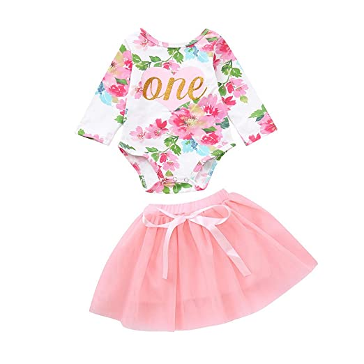 9c9cff30955d Amazon.com  Lurryly Newborn Baby Girls Romper+Tutu Skirt Jumpsuit Clothes  Bodysuit Pajamas Outfit 0-2T  Clothing