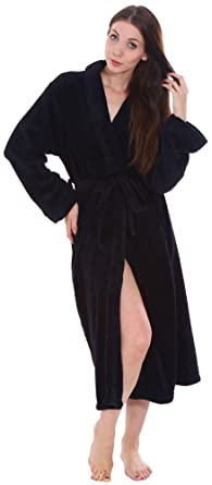 Women s Soft Plush Warm Fleece Bathrobe Robes 15a41d922