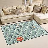 WellLee Area Rug,Fox Raccoon Hidden in Forest Floor Rug Non-Slip Doormat for Living Dining Dorm Room Bedroom Decor 60x39 inch