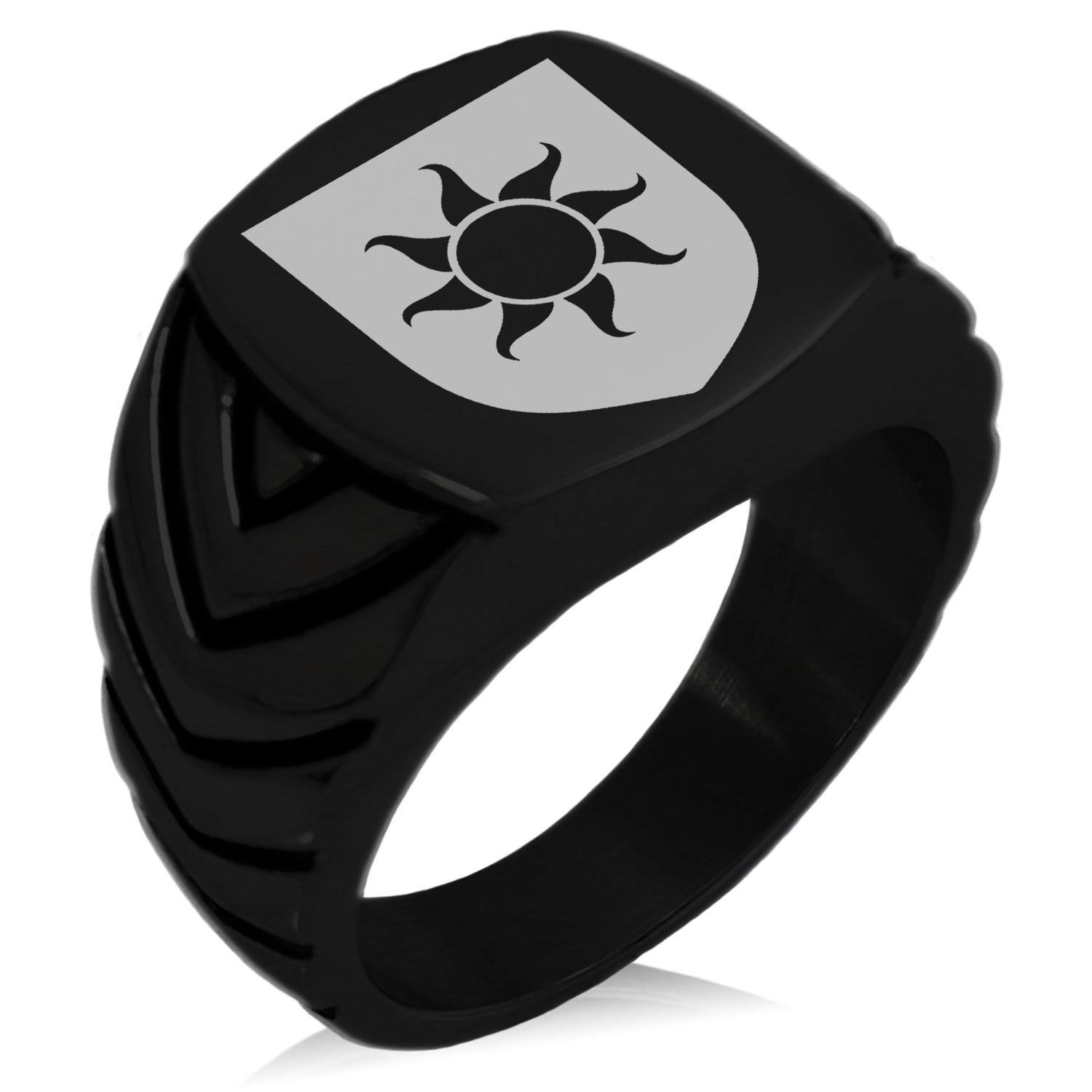 Tioneer Black IP Plated Stainless Steel Sun Splendor Coat of Arms Shield Engraved Chevron Pattern Biker Style Polished Ring, Size 13