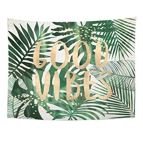 Emvency Tapestry Green Beach Good Vibes Quote Tropical Leaves Wall Collage Home Decor Wall Hanging for Living Room Bedroom Dorm 60x80 Inches - Gold Leaf Collage