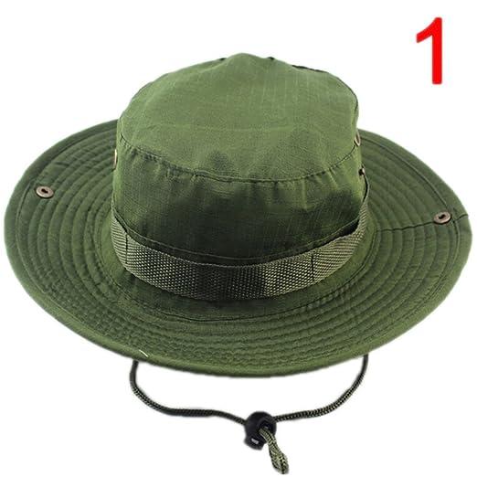 Outdoor Canvas Cap Sun Hats Summer Men Women Camouflage Bucket Hat with  String Fisherman Cap an 6488210d1bd