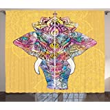 Elephant Mandala Curtains by Ambesonne, Peach Backdrop Image with Mental and Physical Fortitude Symbol Animal, Living Room Bedroom Window Drapes 2 Panel Set, 108 W X 84 L Inches, Multicolor