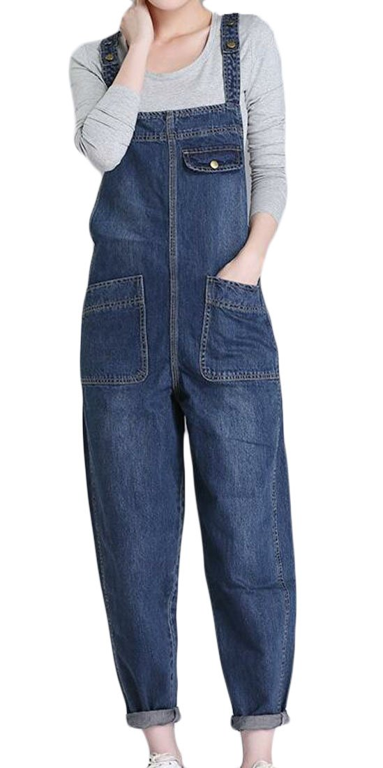 MOUTEN Women's Plus Size Casual Loose Fit Jeans Denim Overalls Girls Bib