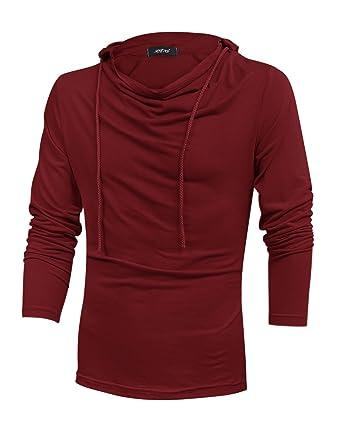 uxcell Men Cowl Neck Drawstring Casual Hooded Sweatshirt Burgundy ...
