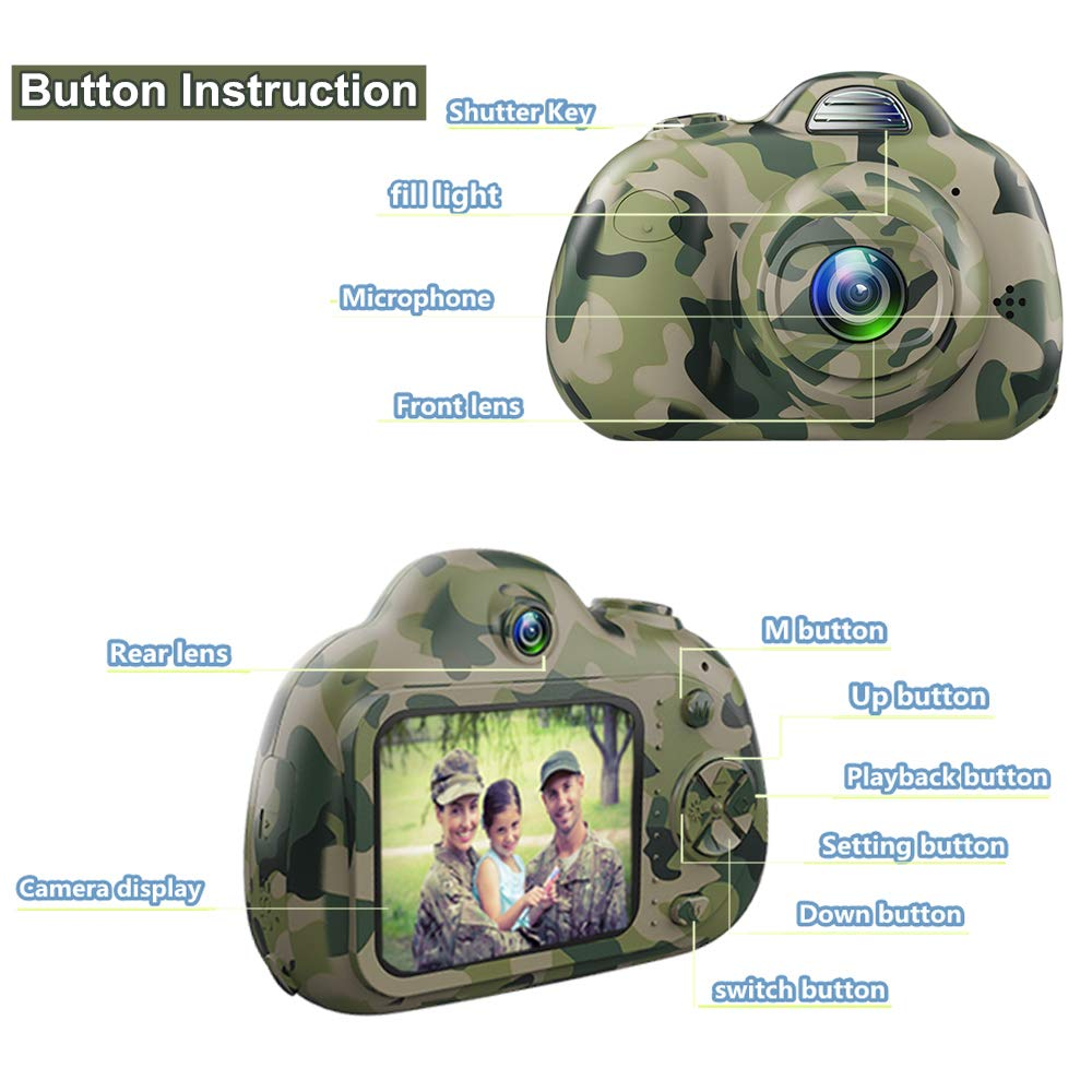 PerfectPromise Kids Camera,Great Gift for 3-10 Years Old Boys Girls,Dual 8MP HD Video Toy Camera & Camcorder with Soft Silicone Shell for Child Outdoor Play --Camo (32G TF Card Included) by PerfectPromise (Image #3)
