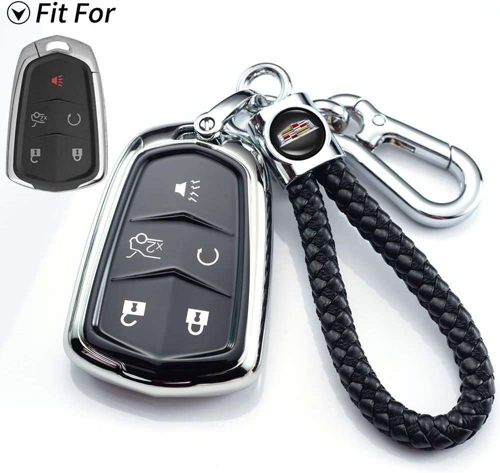 Silver 5-Buttons ATS STS CTS Premium Soft TPU 360 Degree Full Protection Key Fob Case for 2015-2019 Cadillac Escalade SRX and CT6, +Cadillac keychain Compatible with Cadillac Key Fob Cover XT5