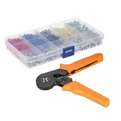 KKmoon Caja de terminales de tubo de presión fría con crimpadora terminales de tubo y alicate