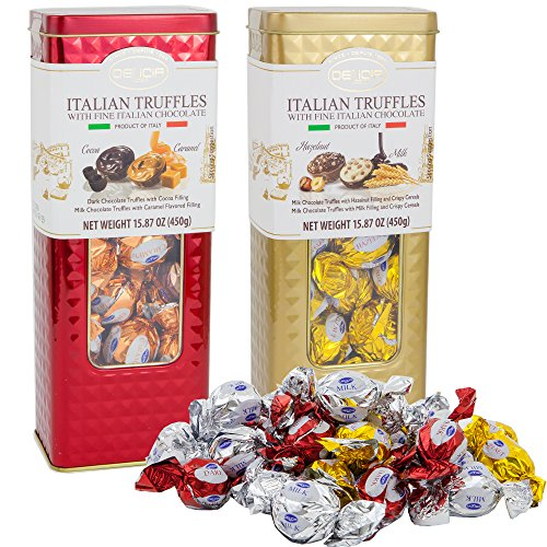 Caramel Cereal (Fine Italian Truffles Milk Chocolate Candies Gift Set Tin 2 Pack | Dark Chocolate with Cocoa & Caramel Filling | Milk Hazelnut Crispy Cereals Filled | 15.87 Oz Each Signature Collection Tin (Holiday))