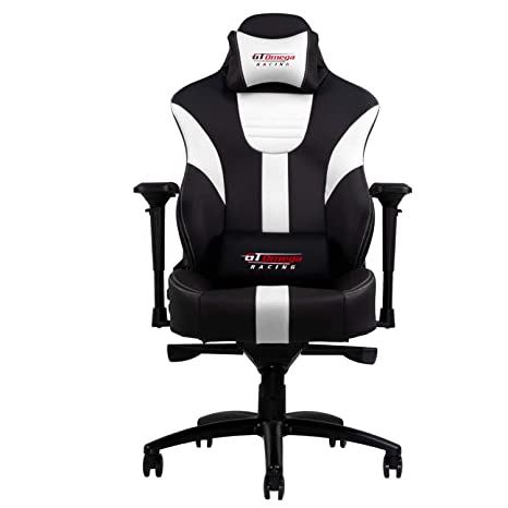 GT Omega Master XL - Silla de oficina de piel, diseño deportivo, color blanco