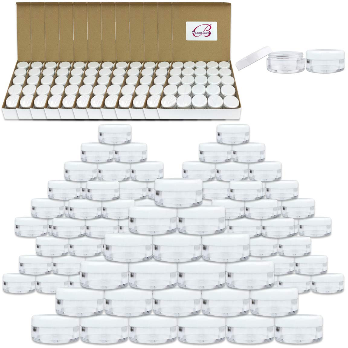 (2000 Pcs) Beauticom 5G/5ML Round Clear Jars with White Lids for Acrylic Powder, Rhinestones, Charms and Other Nail Accessories - BPA Free by Beauticom