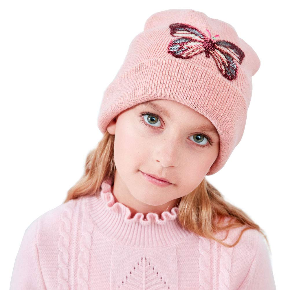 Moon Kitty Baby Girls Winter Hats Soft Warm Hat Caps for Baby Girl with Hand-Stitched Butterfly Sequins DIY /…