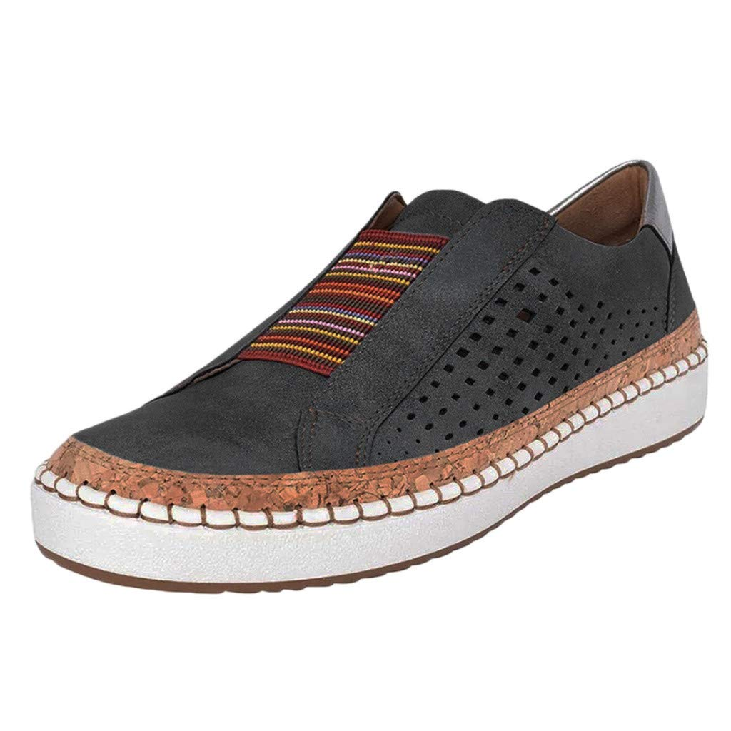 New in Haalife◕‿Women Casual Walking Shoes Casual Hollow Out Slip-On Sneakers Soft Leather Loafers Shoes (A_Black, 5)