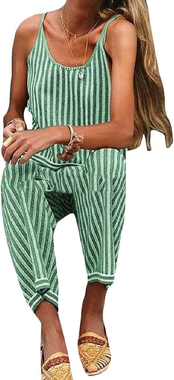 CBTLVSN Women Spaghetti Strap Sleeveless Stripe Harem Pants Romper Jumpsuits Rompers