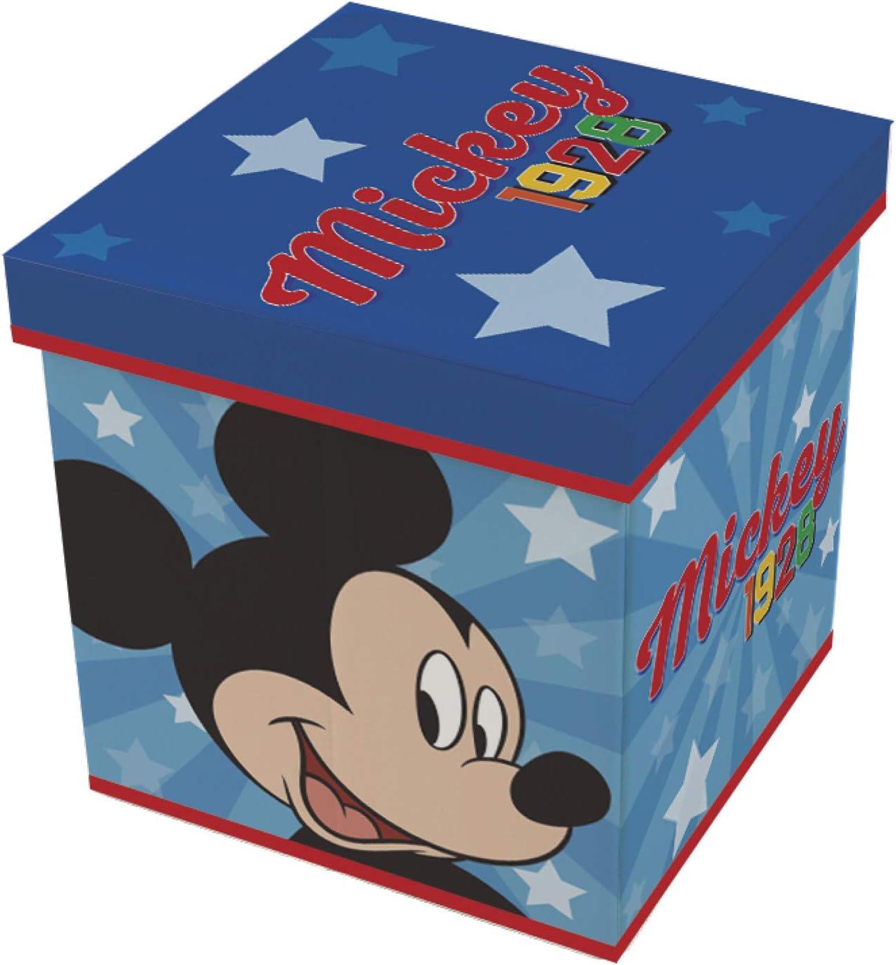 ARDITEX WD13015 Fabric Folding Storage Seat 30 x 30 x 30 cm by Disney-Mickey