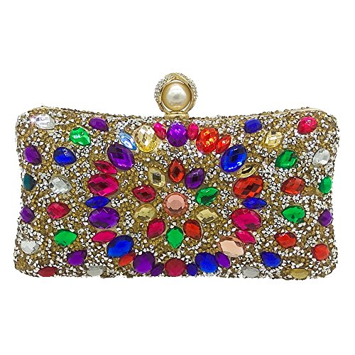 Main Gemstone Soirée Pochette Party Gold Strass Prom À Couleur Banquet De Sac Dames CwFtxPqPY