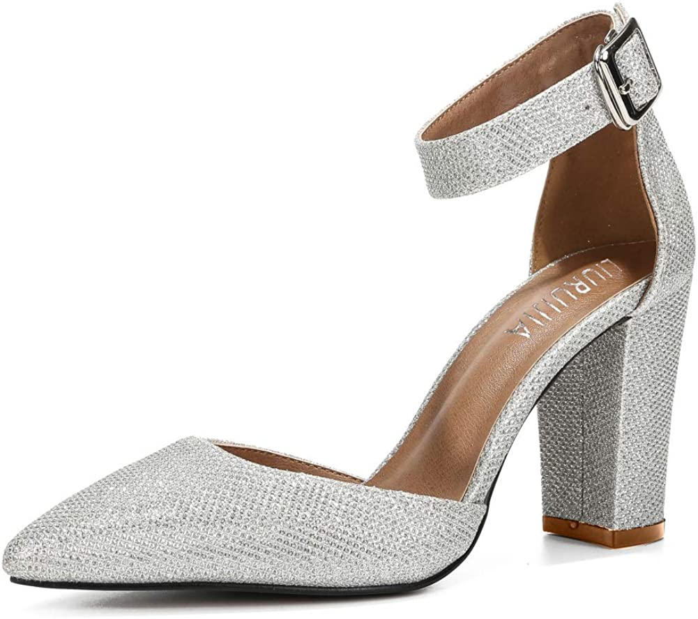 Ankle Strap Pointed Toe Chunky Block