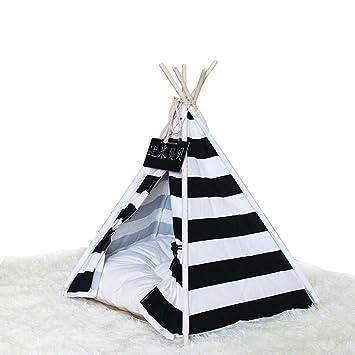 shanzhizui Rayas blancas y negras Tienda de mascotas Medio, pequeño y mediano Caseta de perro del gato Almohadilla para mascotas Pentagonal Instalación ...