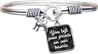 product image for Dog You Left Paw Prints on Our Hearts Silver Bangle Bracelet
