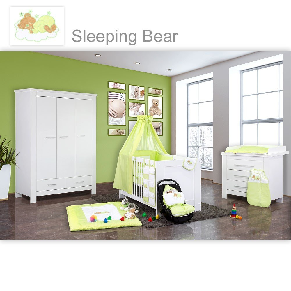 Babyzimmer Enni in weiss 10 tlg. mit 3 türigem Kl. + Textilien von Sleeping Bear, grün