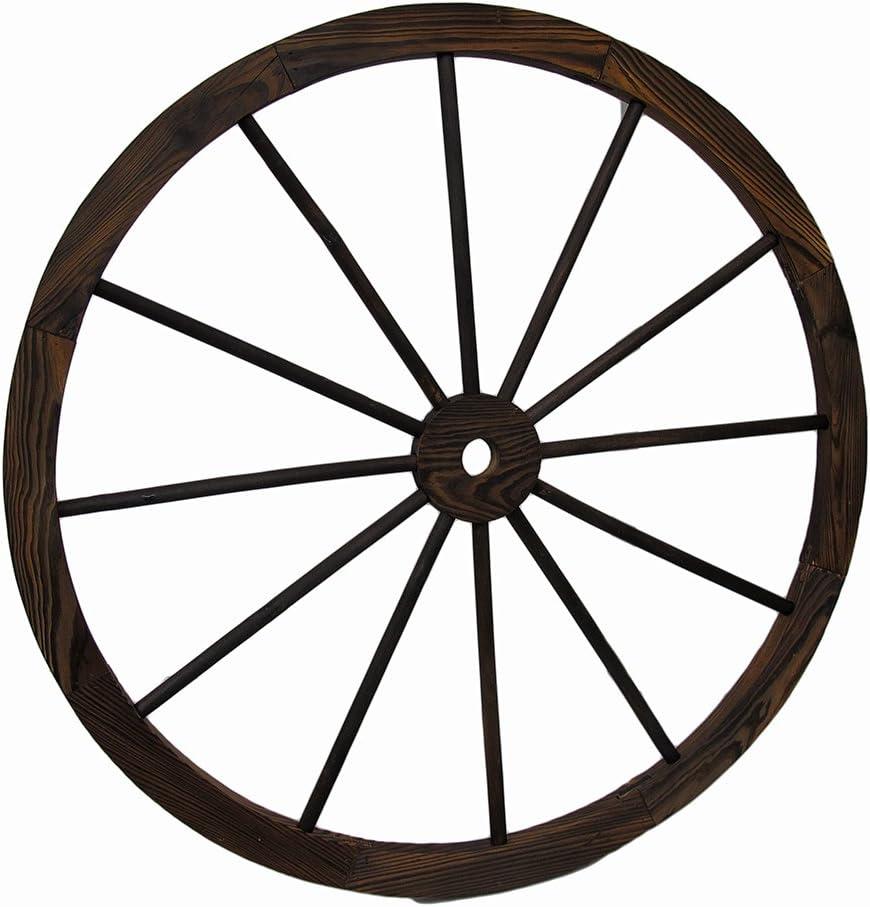 Zeckos Wooden Wagon Wheel Decorative Wall Hanging 32 in.