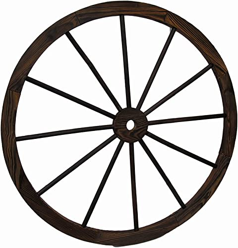 Zeckos Wooden Wagon Wheel Decorative Wall Hanging 32 in.