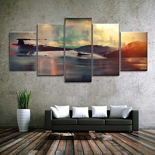 Modern Art Printed in Star Wars Movie Poster 5 panel canvas art wall frame paintings living room40x50x2+40x70x2+40x100x1= (CM)^^^With Framework by junhongli