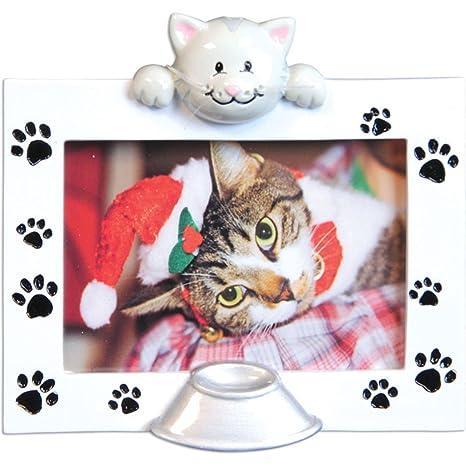 Adorno de Navidad con marco de gato personalizado para árbol 2018, imagen genérica con huellas