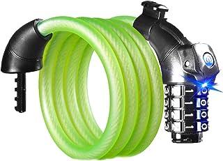Candado de cable para bicicleta sin llave, antirrobo, candado de seguridad LED, antirrobo