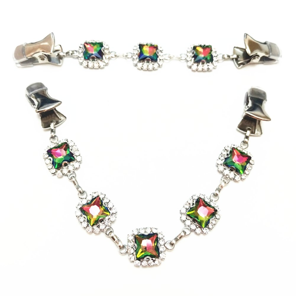 Ever Cute Versatile Cardigan Sweater Clip Colorful Crystal Rhinestone Silver Brooch-short long