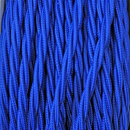 Creative-Cables - Cable Textil Flexible Eléctrico Trenzado para iluminación iluminación iluminación - Azul - 50 Metri, 2 Cavi 7cefb0