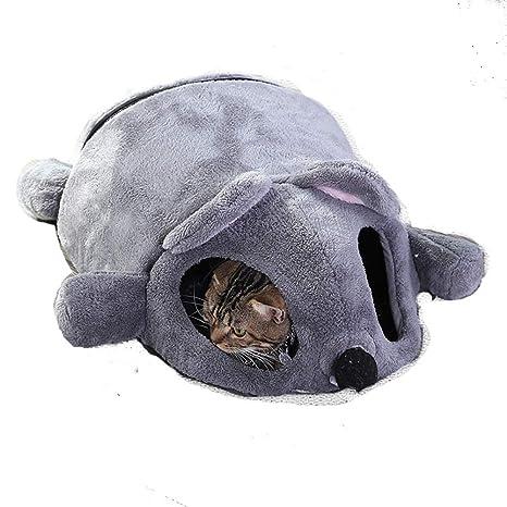 Outtybrave - Sofás de casa cálida para Gatos de Invierno con Forma de ratón y Dibujos Animados para Mascotas, Cama de túnel para Gatos y Mascotas ...