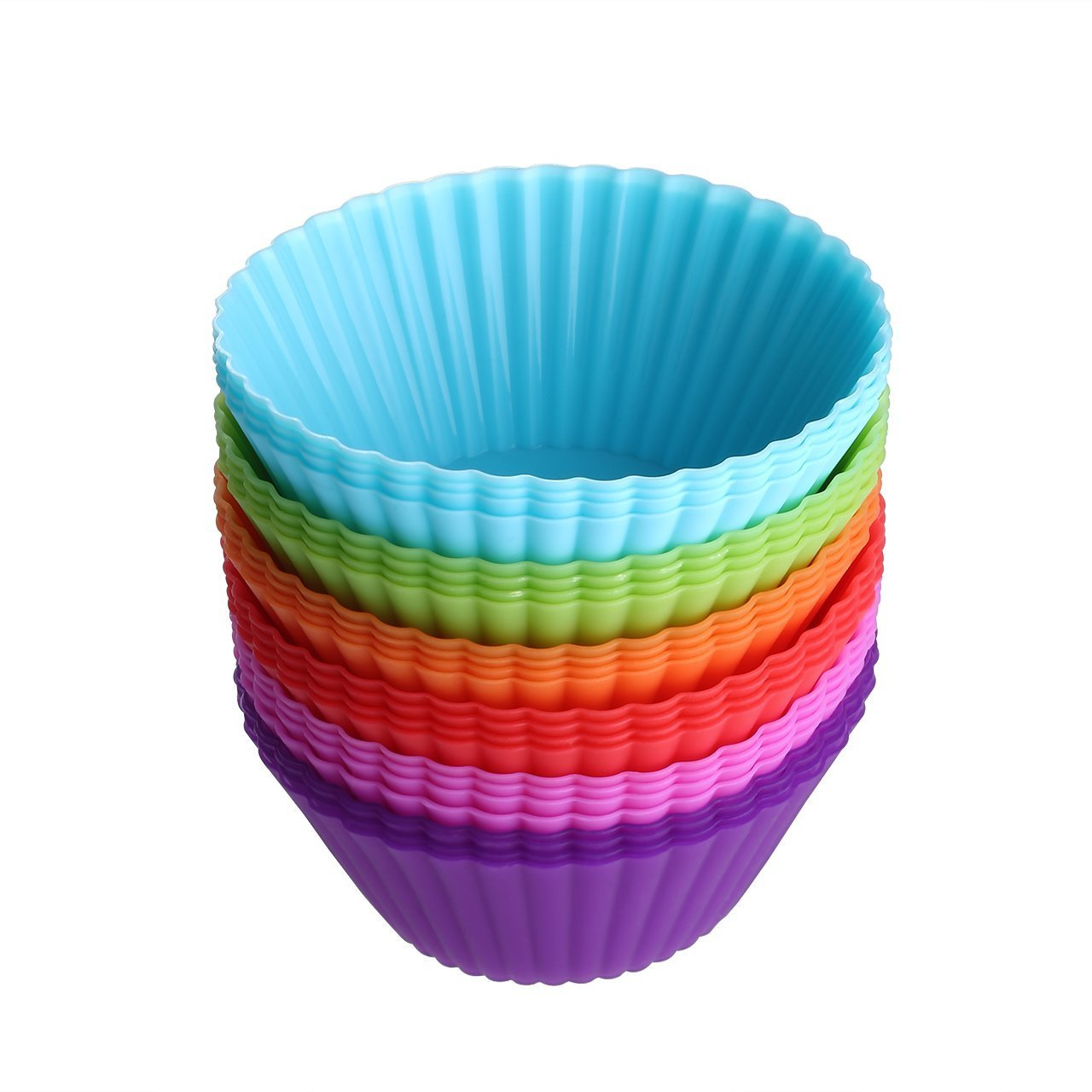 (24/Pack)Reusable Baking Cake Cups,Silicone Bakeware Baking Muffin Cups Cupcake Liners Moulds Sets, BPA Free and FDA Approved Muffin Molds Set (8 Colors) COFULL