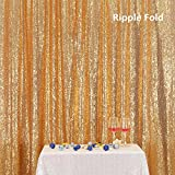PartyDelight Sequin Backdrop Wedding Curtain Special Events, Party (Light Gold, 6FTx7FT)