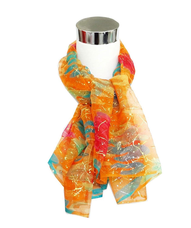 """Chiffon Gold Decor Multicolored Palette Print on Bright Orange - Silk Scarf 32"""" x 41"""""""