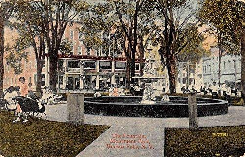 Hudson Falls New York Monument Park Fountain Antique Postcard K83621