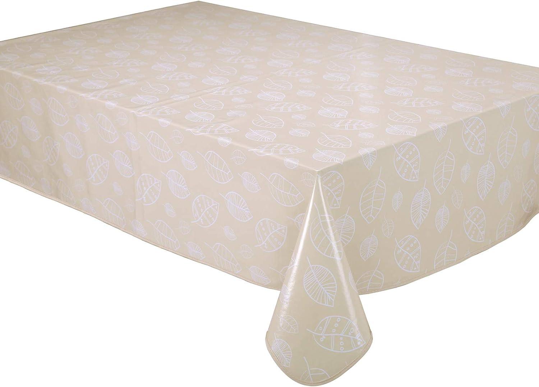 Home Direct Nappe Toile cir/ée PVC Rectangulaire 140 x 180 cm/Feuilles Beige
