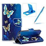 Leather Case for iPhone 6S Plus,Flip Wallet Cover for iPhone 6 Plus,Herzzer Stylish Luxury Butterfly Pattern Magnetic Closure Purse Folio Smart Stand Cover with Card Cash Slot Soft TPU Inner Case for iPhone 6 Plus/6S Plus 5.5 inch + 1 x Free Blue Cellphone Kickstand + 1 x Free Blue Stylus Pen