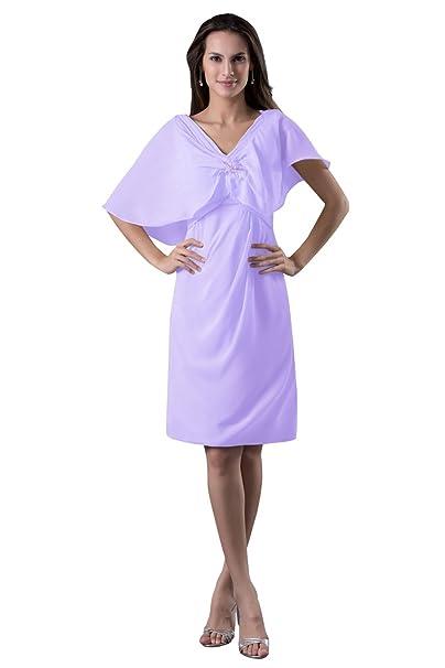 b258e4eada1 Dora Bridal Women A-Line V-Neck Chiffon Mother Formal Evening Dresses With  Shawl US14 Lilac  Amazon.ca  Clothing   Accessories
