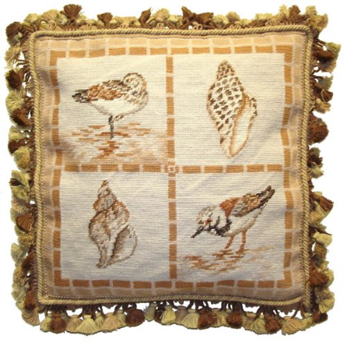 Deluxe Pillows Two Birds and Shells - 18 x 18 in. needlepoint pillow (Shell Needlepoint Pillow)