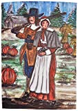 Caroline's Treasures CN5032CHF Pilgrims Thanksgiving Canvas House Flag, Large, Multicolor