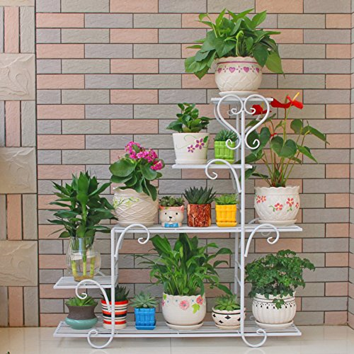 Europeanlronflower rackmulti-storeybalconyliving roomflower shelf-A (351037inch)882595cm by Flower racks