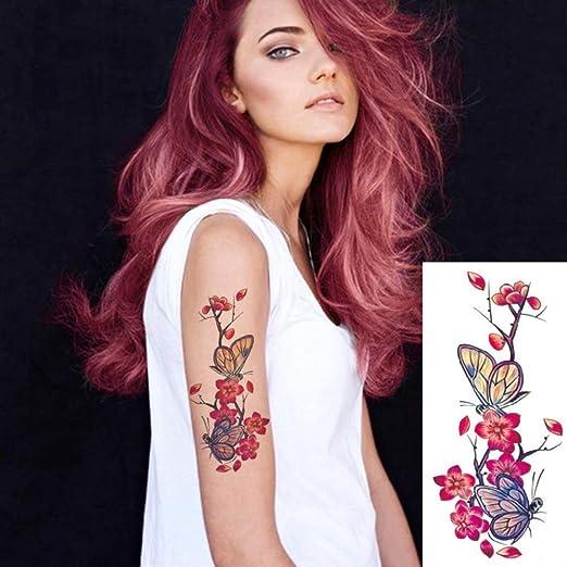 tzxdbh 3pcs-Tattoo Sticker Colorido diseño de Loto Hombro Femenino ...