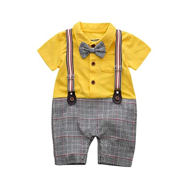 84661e60a3e2 Si Noir by Hopscotch Boys Buttoned Style Bow Applique Romper in Yellow  Colour for Ages 12