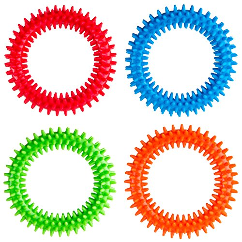 Silicone Spiky Sensory Toy Rings (4-Pack) Tactile Fidget Gadget | Quiet, Fidgeting and ADHD Support | Colorful, Stimulating Massage | Toddler, Youth Friendly Sensory Motor Aid