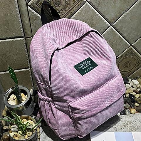 Backpack PINCHUANGHUI Fashion Simple Design Women Thicken Corduroy Backpack Shoulders Bag(12.2x3.94x15.75In) - - Corduroy Womens Shoulder Bag