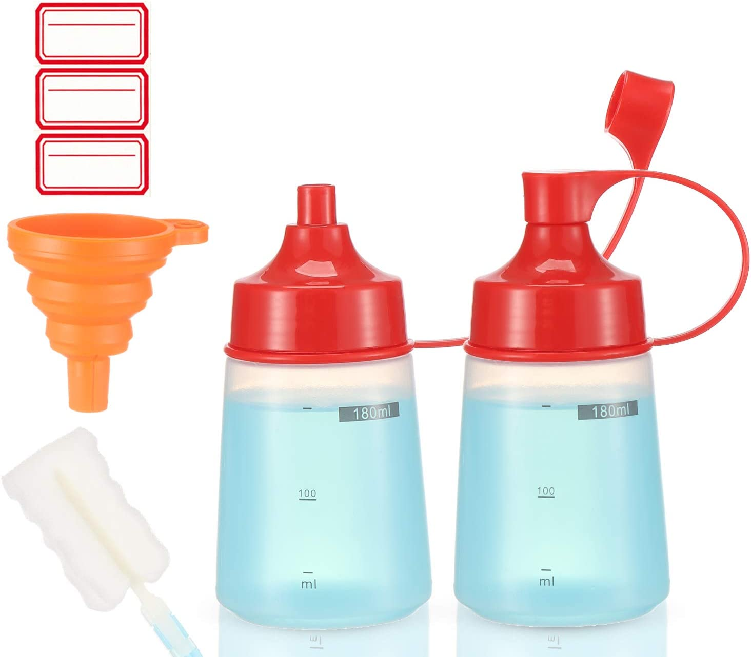 Condiment Squeeze Bottle Wide Mouth, Ondiomn 2 Pack 180ml Clear Squeeze Bottles for Condiments, Paint, Ketchup, Mustard, Oil, Sauces, Resin, Baking, Cake Decorating, Cleaning, BPA Free-Food Grade